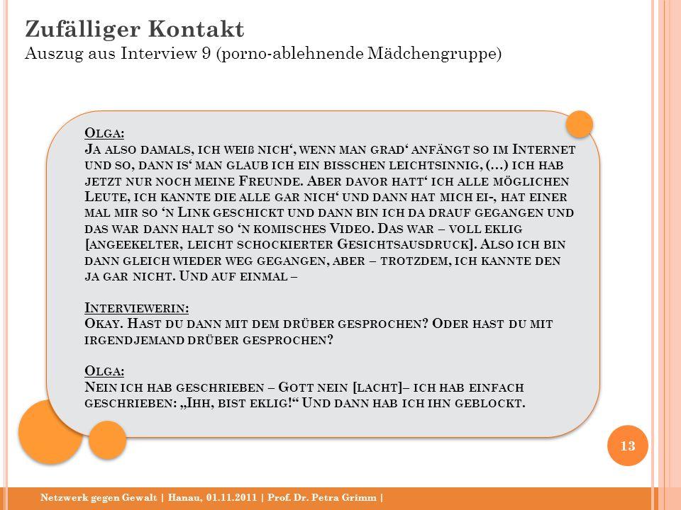Netzwerk gegen Gewalt | Hanau, 01.11.2011 | Prof. Dr. Petra Grimm | O LGA : J A ALSO DAMALS, ICH WEIß NICH, WENN MAN GRAD ANFÄNGT SO IM I NTERNET UND