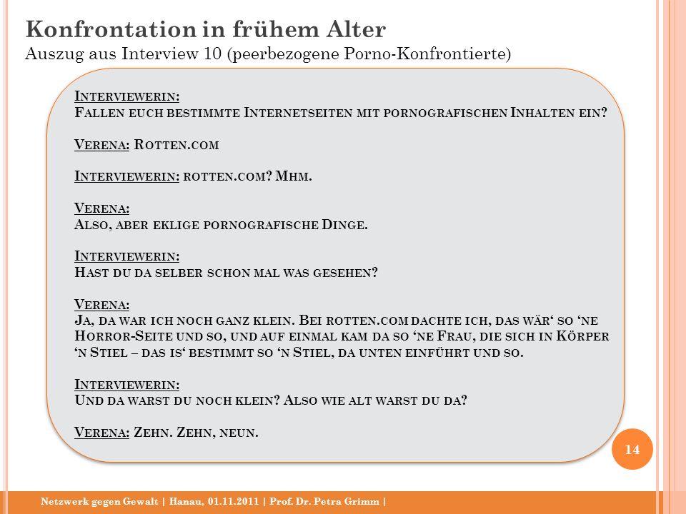 Netzwerk gegen Gewalt | Hanau, 01.11.2011 | Prof. Dr. Petra Grimm | I NTERVIEWERIN : F ALLEN EUCH BESTIMMTE I NTERNETSEITEN MIT PORNOGRAFISCHEN I NHAL