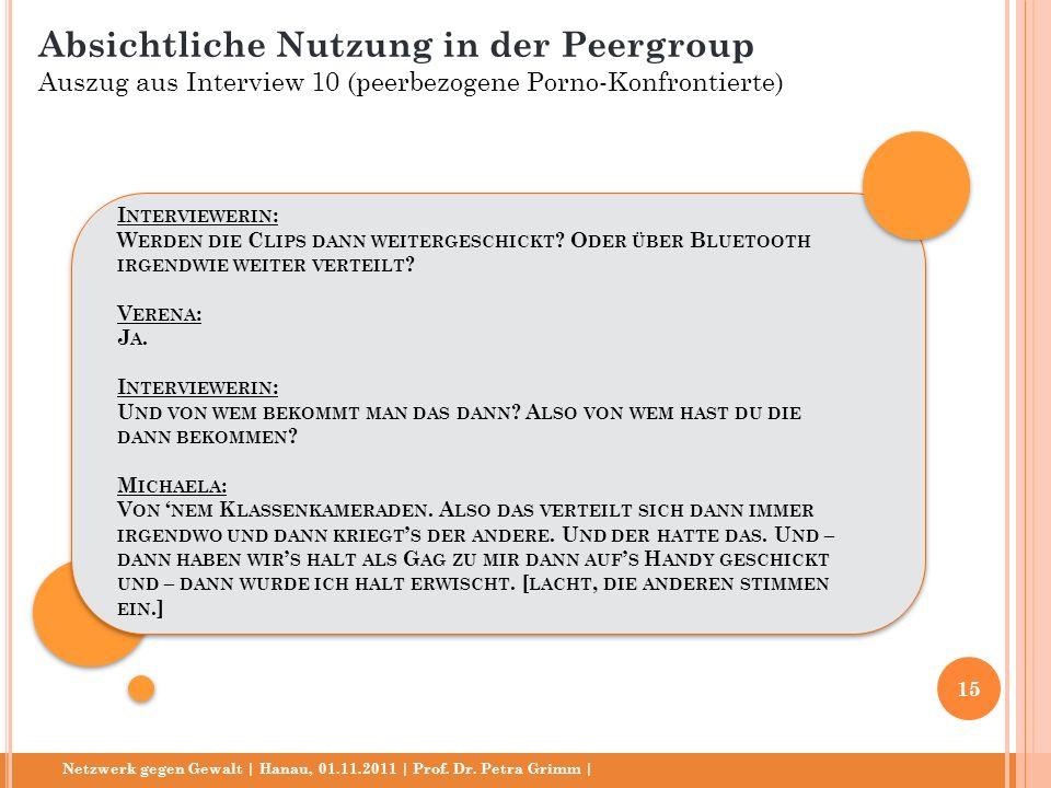 Netzwerk gegen Gewalt | Hanau, 01.11.2011 | Prof. Dr. Petra Grimm | I NTERVIEWERIN : W ERDEN DIE C LIPS DANN WEITERGESCHICKT ? O DER ÜBER B LUETOOTH I
