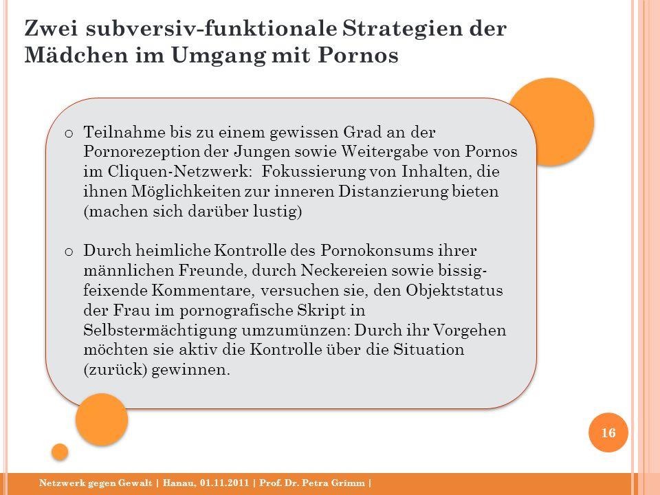 Netzwerk gegen Gewalt | Hanau, 01.11.2011 | Prof. Dr. Petra Grimm | o Teilnahme bis zu einem gewissen Grad an der Pornorezeption der Jungen sowie Weit