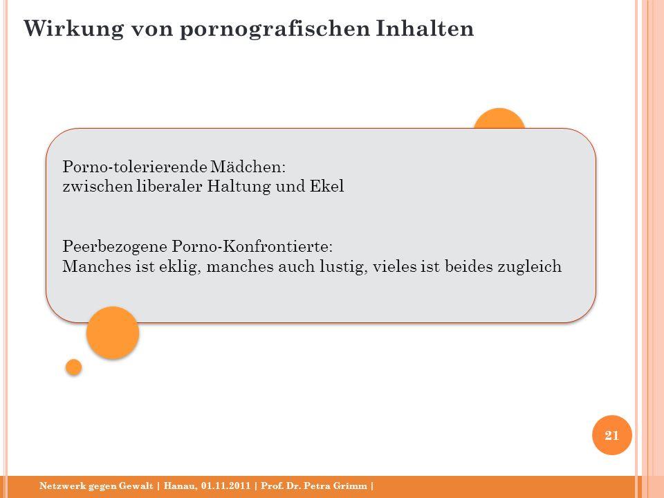 Netzwerk gegen Gewalt | Hanau, 01.11.2011 | Prof. Dr. Petra Grimm | Porno-tolerierende Mädchen: zwischen liberaler Haltung und Ekel Peerbezogene Porno