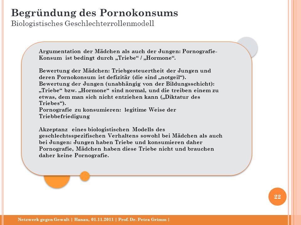 Netzwerk gegen Gewalt | Hanau, 01.11.2011 | Prof. Dr. Petra Grimm | Argumentation der Mädchen als auch der Jungen: Pornografie- Konsum ist bedingt dur