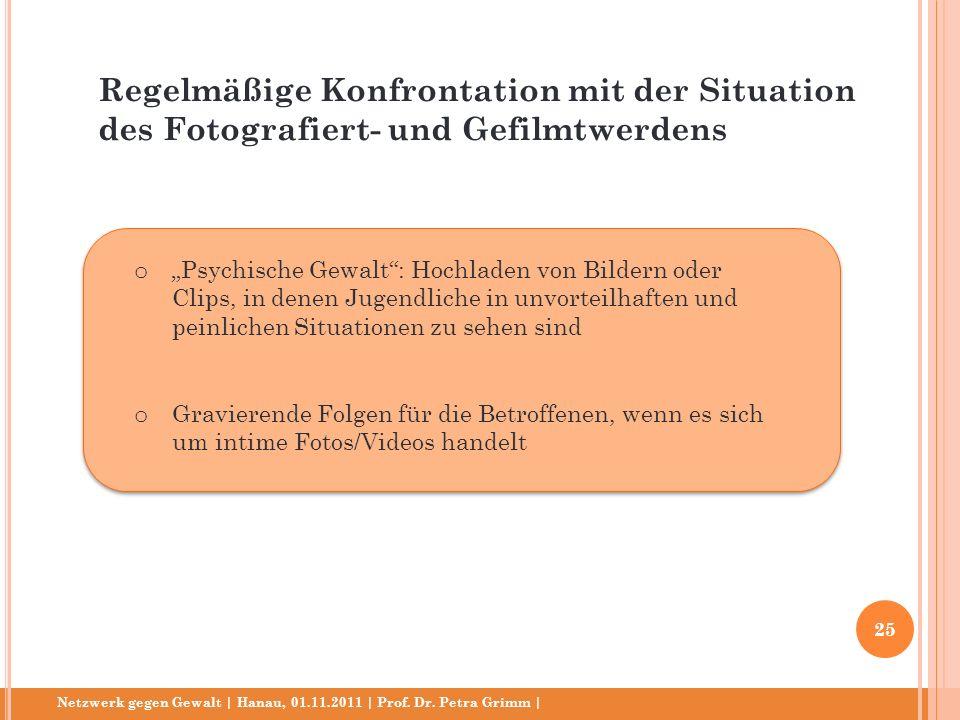 Netzwerk gegen Gewalt | Hanau, 01.11.2011 | Prof. Dr. Petra Grimm | o Psychische Gewalt: Hochladen von Bildern oder Clips, in denen Jugendliche in unv