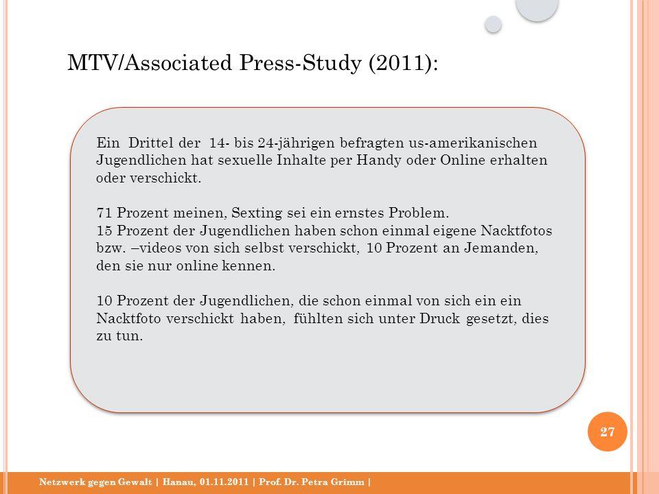Netzwerk gegen Gewalt | Hanau, 01.11.2011 | Prof. Dr. Petra Grimm | Ein Drittel der 14- bis 24-jährigen befragten us-amerikanischen Jugendlichen hat s