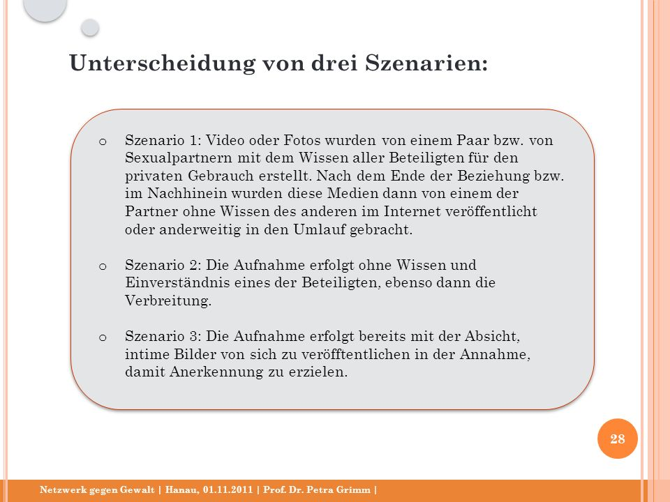 Netzwerk gegen Gewalt | Hanau, 01.11.2011 | Prof. Dr. Petra Grimm | o Szenario 1: Video oder Fotos wurden von einem Paar bzw. von Sexualpartnern mit d