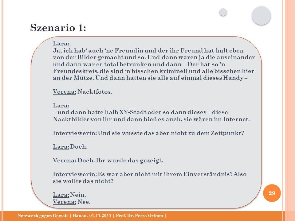 Netzwerk gegen Gewalt | Hanau, 01.11.2011 | Prof. Dr. Petra Grimm | Lara: Ja, ich hab auch ne Freundin und der ihr Freund hat halt eben von der Bilder