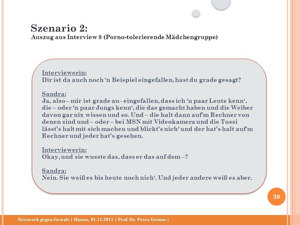 Netzwerk gegen Gewalt | Hanau, 01.11.2011 | Prof. Dr. Petra Grimm | Interviewerin: Dir ist da auch noch n Beispiel eingefallen, hast du grade gesagt?