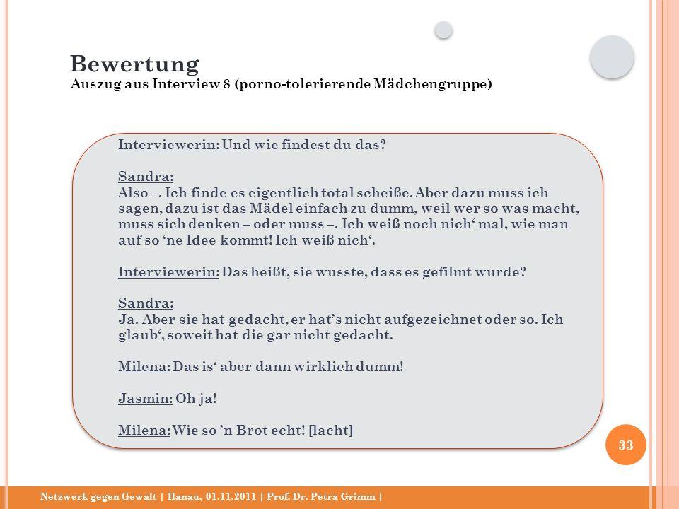 Netzwerk gegen Gewalt | Hanau, 01.11.2011 | Prof. Dr. Petra Grimm | Interviewerin: Und wie findest du das? Sandra: Also –. Ich finde es eigentlich tot