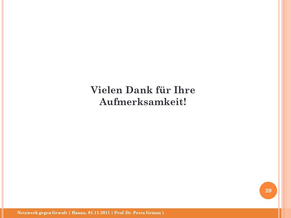 Netzwerk gegen Gewalt | Hanau, 01.11.2011 | Prof. Dr. Petra Grimm | Vielen Dank für Ihre Aufmerksamkeit! 39