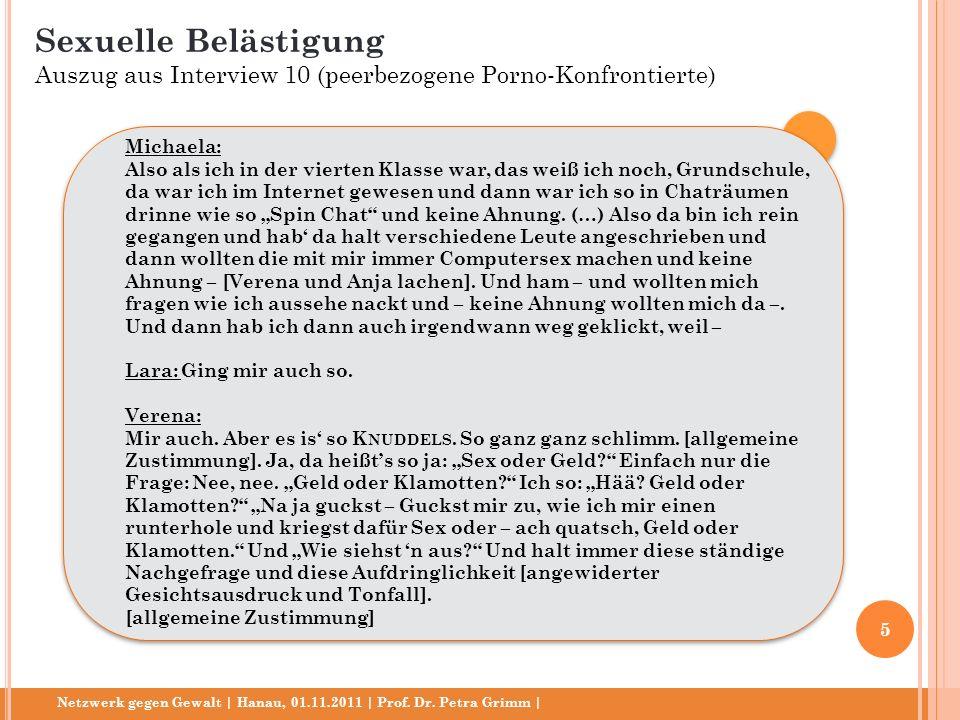 Netzwerk gegen Gewalt | Hanau, 01.11.2011 | Prof. Dr. Petra Grimm | Michaela: Also als ich in der vierten Klasse war, das weiß ich noch, Grundschule,
