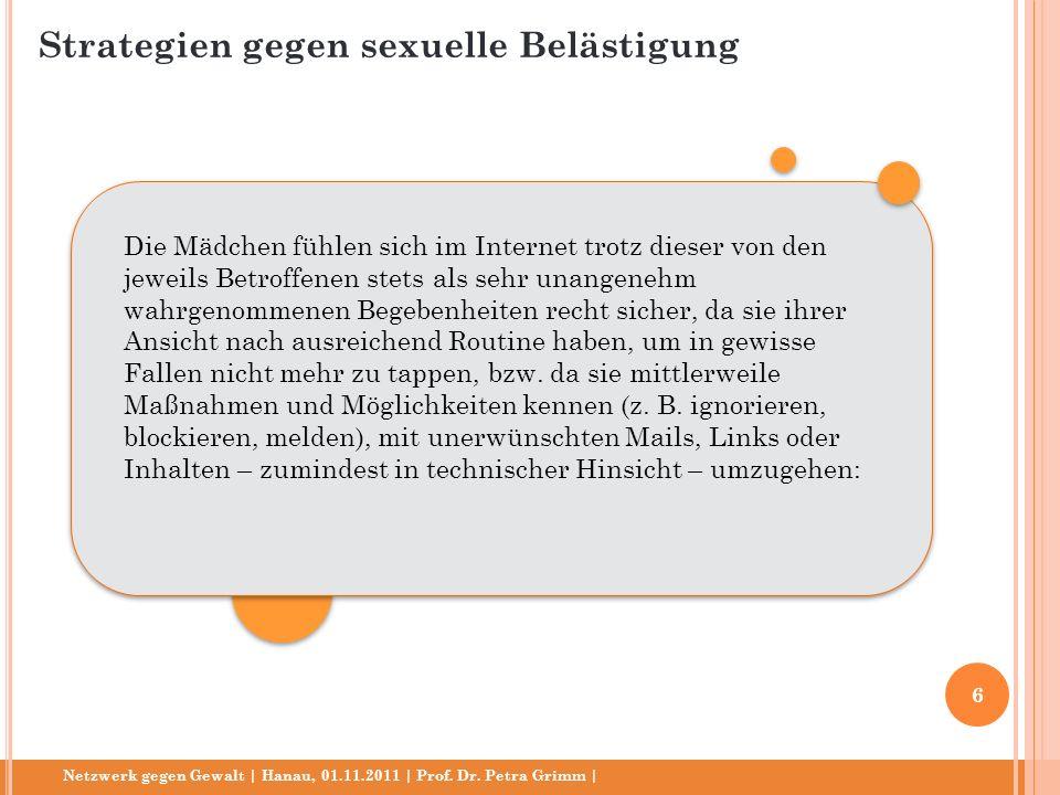 Netzwerk gegen Gewalt | Hanau, 01.11.2011 | Prof. Dr. Petra Grimm | Die Mädchen fühlen sich im Internet trotz dieser von den jeweils Betroffenen stets