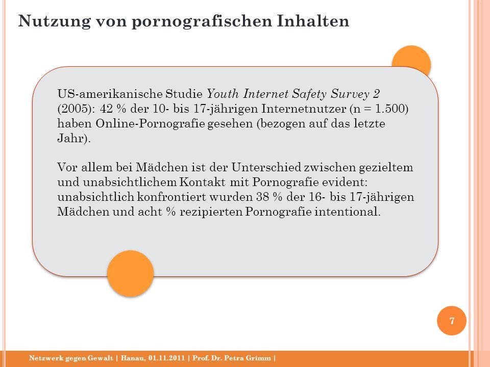 Netzwerk gegen Gewalt | Hanau, 01.11.2011 | Prof. Dr. Petra Grimm | US-amerikanische Studie Youth Internet Safety Survey 2 (2005): 42 % der 10- bis 17
