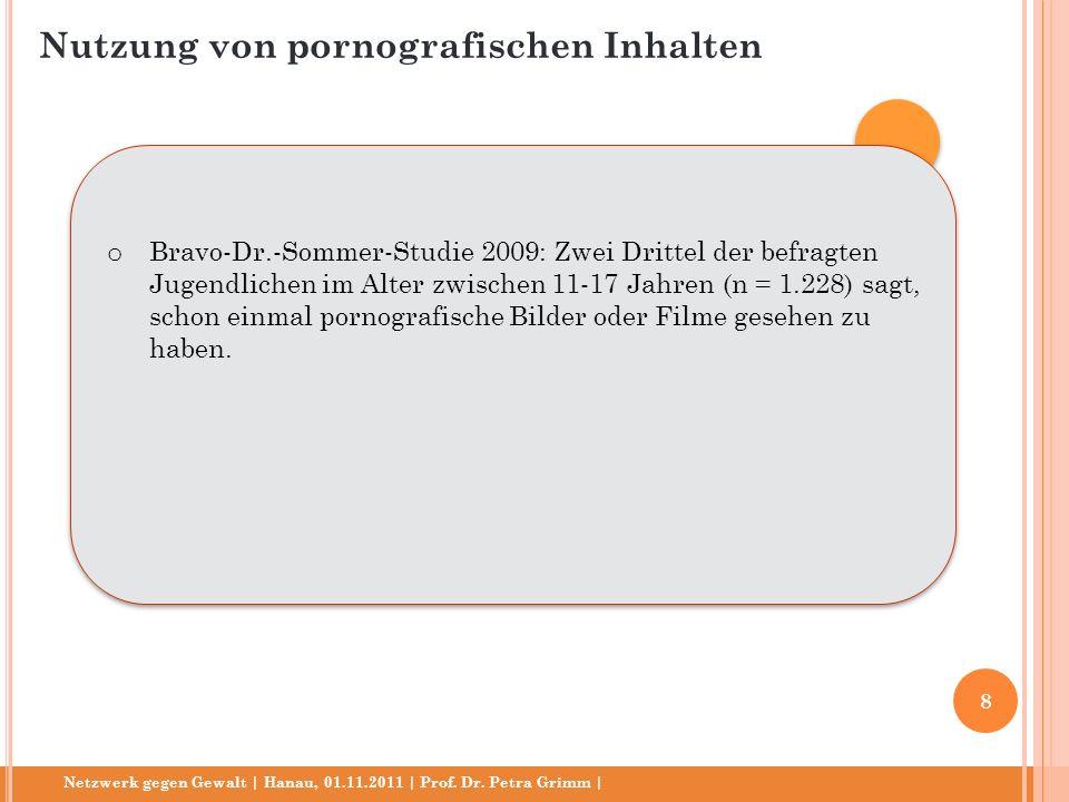 Netzwerk gegen Gewalt | Hanau, 01.11.2011 | Prof. Dr. Petra Grimm | o Bravo-Dr.-Sommer-Studie 2009: Zwei Drittel der befragten Jugendlichen im Alter z