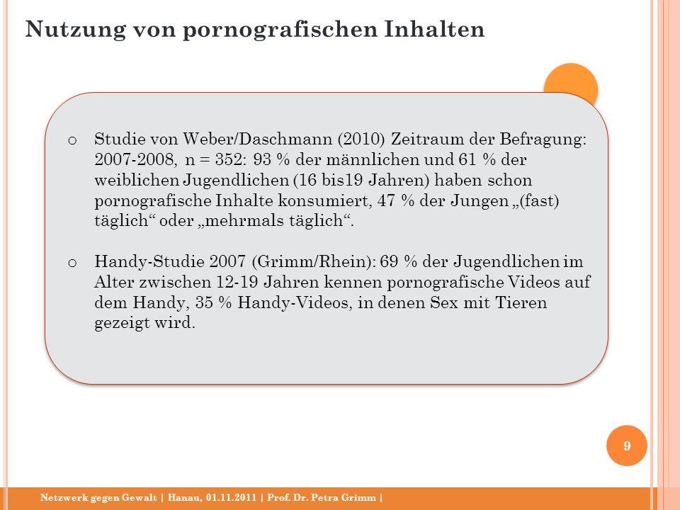 Netzwerk gegen Gewalt | Hanau, 01.11.2011 | Prof. Dr. Petra Grimm | o Studie von Weber/Daschmann (2010) Zeitraum der Befragung: 2007-2008, n = 352: 93