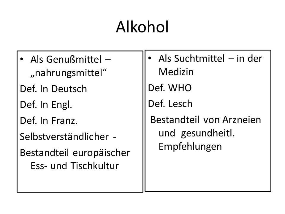 Alkohol Als Genußmittel – nahrungsmittel Def. In Deutsch Def. In Engl. Def. In Franz. Selbstverständlicher - Bestandteil europäischer Ess- und Tischku