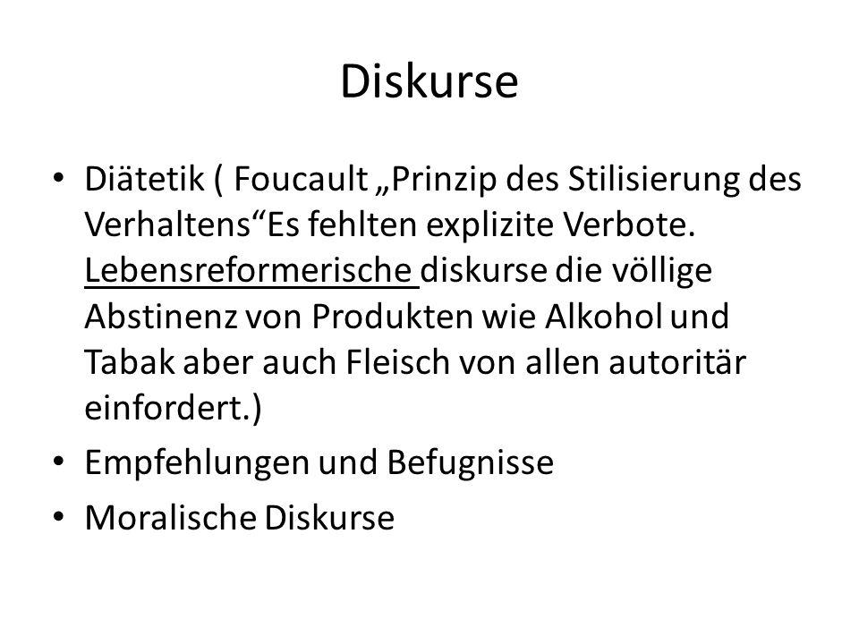 Diskurse Diätetik ( Foucault Prinzip des Stilisierung des VerhaltensEs fehlten explizite Verbote. Lebensreformerische diskurse die völlige Abstinenz v