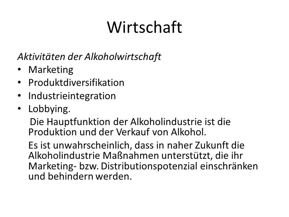 Wirtschaft Aktivitäten der Alkoholwirtschaft Marketing Produktdiversifikation Industrieintegration Lobbying. Die Hauptfunktion der Alkoholindustrie is