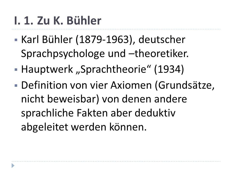 I.1.Zu K. Bühler Karl Bühler (1879-1963), deutscher Sprachpsychologe und –theoretiker.