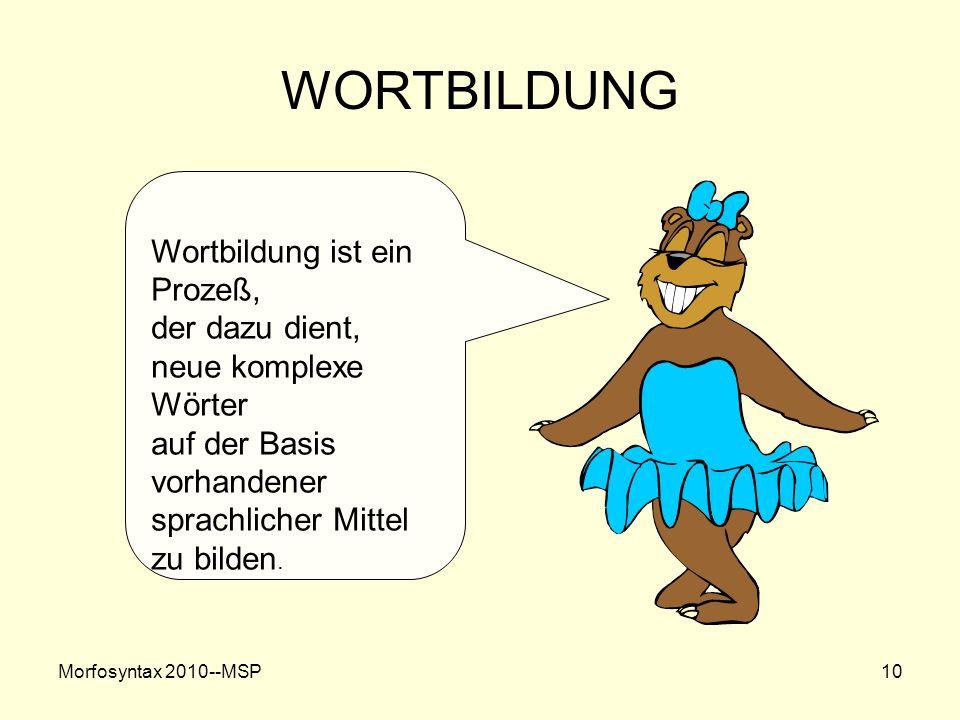 Morfosyntax 2010--MSP10 WORTBILDUNG Wortbildung ist ein Prozeß, der dazu dient, neue komplexe Wörter auf der Basis vorhandener sprachlicher Mittel zu