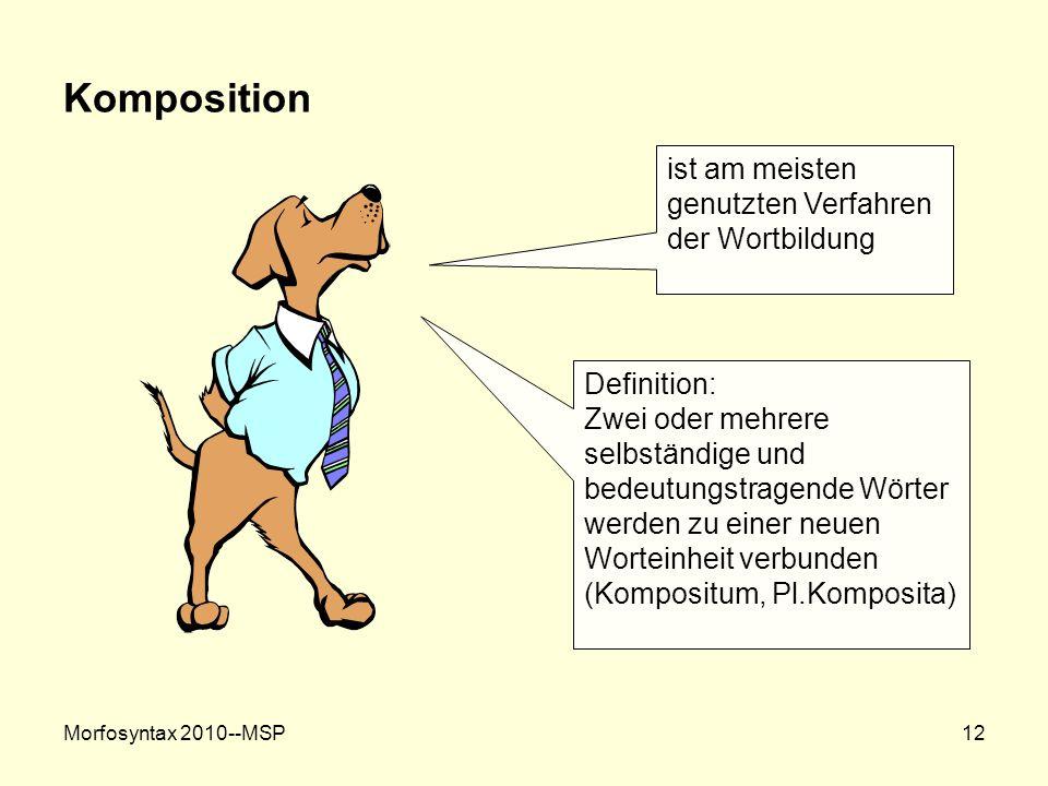 Morfosyntax 2010--MSP12 Komposition ist am meisten genutzten Verfahren der Wortbildung Definition: Zwei oder mehrere selbständige und bedeutungstragen