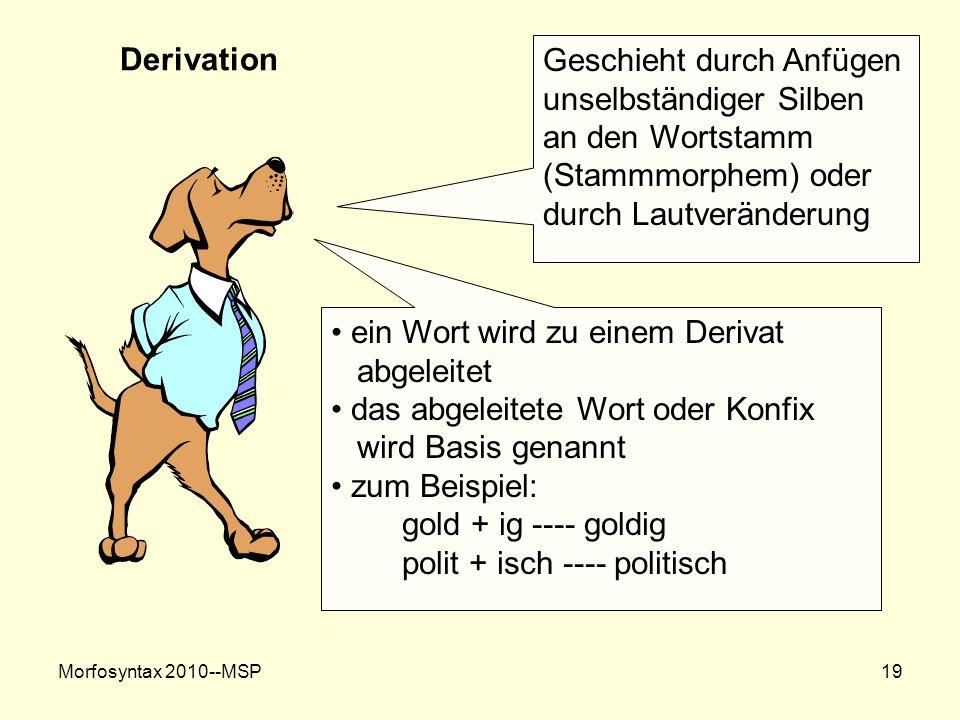 Morfosyntax 2010--MSP19 Derivation Geschieht durch Anfügen unselbständiger Silben an den Wortstamm (Stammmorphem) oder durch Lautveränderung ein Wort