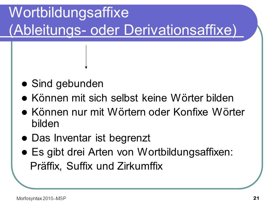 Morfosyntax 2010--MSP21 Wortbildungsaffixe (Ableitungs- oder Derivationsaffixe) Sind gebunden Können mit sich selbst keine Wörter bilden Können nur mi
