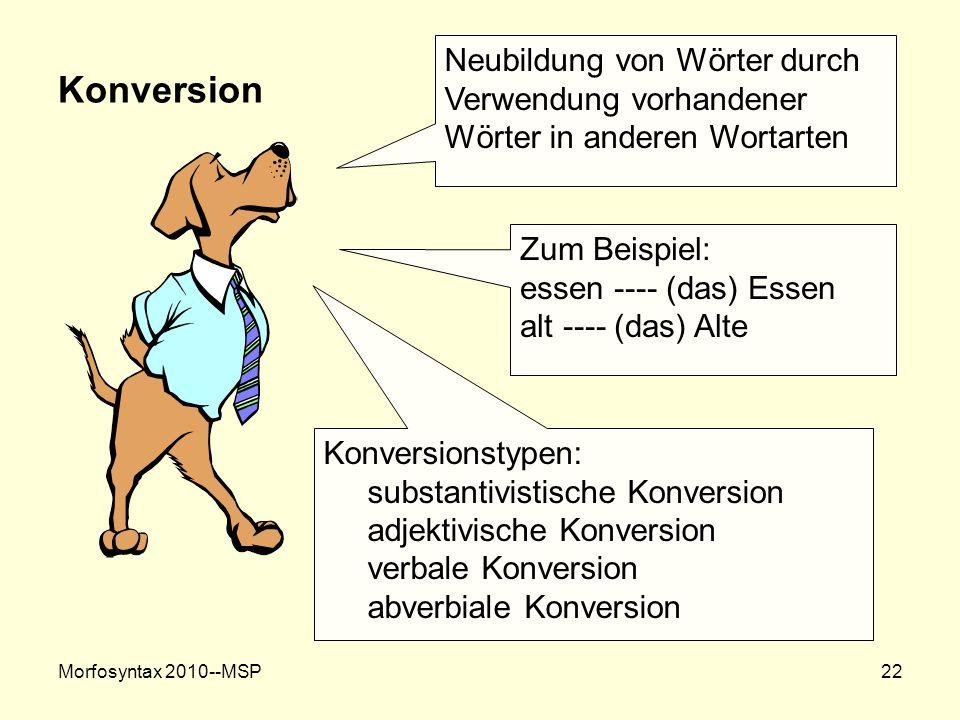 Morfosyntax 2010--MSP22 Konversion Neubildung von Wörter durch Verwendung vorhandener Wörter in anderen Wortarten Zum Beispiel: essen ---- (das) Essen