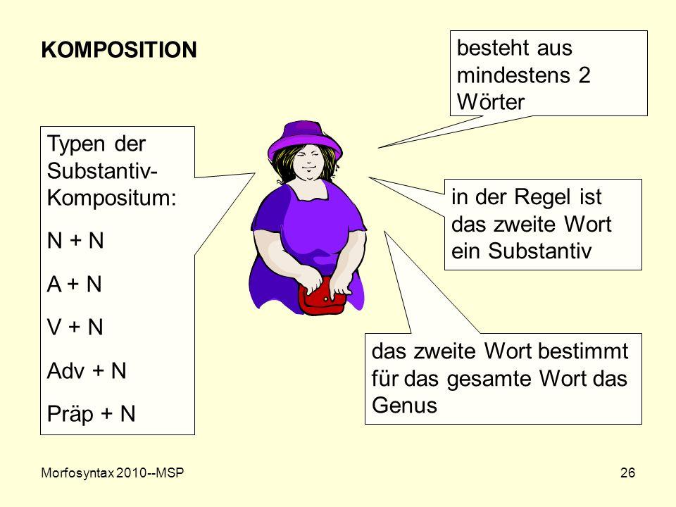 Morfosyntax 2010--MSP26 KOMPOSITION besteht aus mindestens 2 Wörter in der Regel ist das zweite Wort ein Substantiv das zweite Wort bestimmt für das g