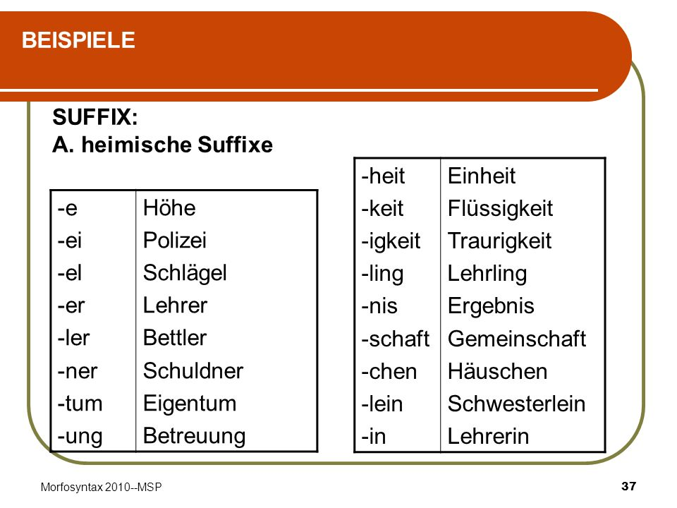 Morfosyntax 2010--MSP37 BEISPIELE SUFFIX: A. heimische Suffixe -heit -keit -igkeit -ling -nis -schaft -chen -lein -in Einheit Flüssigkeit Traurigkeit