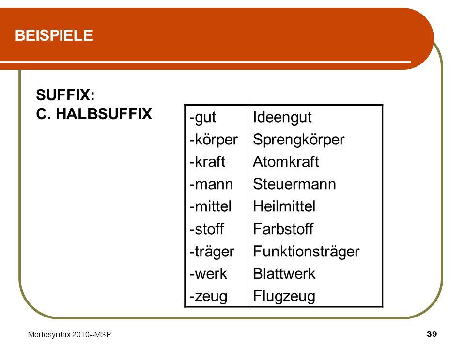 Morfosyntax 2010--MSP39 BEISPIELE SUFFIX: C. HALBSUFFIX -gut -körper -kraft -mann -mittel -stoff -träger -werk -zeug Ideengut Sprengkörper Atomkraft S