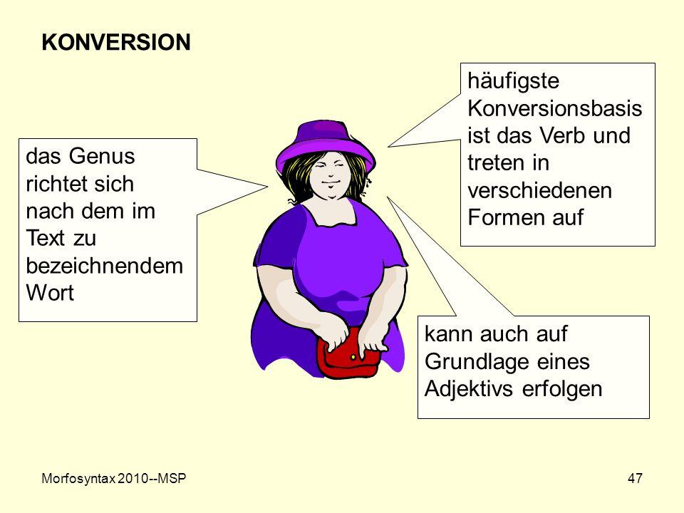 Morfosyntax 2010--MSP47 KONVERSION häufigste Konversionsbasis ist das Verb und treten in verschiedenen Formen auf kann auch auf Grundlage eines Adjekt
