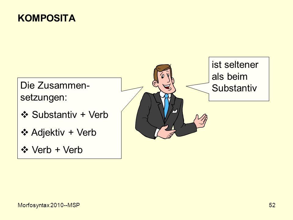 Morfosyntax 2010--MSP52 KOMPOSITA ist seltener als beim Substantiv Die Zusammen- setzungen: Substantiv + Verb Adjektiv + Verb Verb + Verb