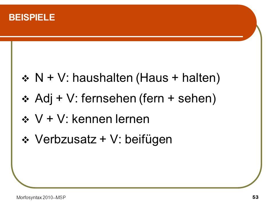 Morfosyntax 2010--MSP53 BEISPIELE N + V: haushalten (Haus + halten) Adj + V: fernsehen (fern + sehen) V + V: kennen lernen Verbzusatz + V: beifügen