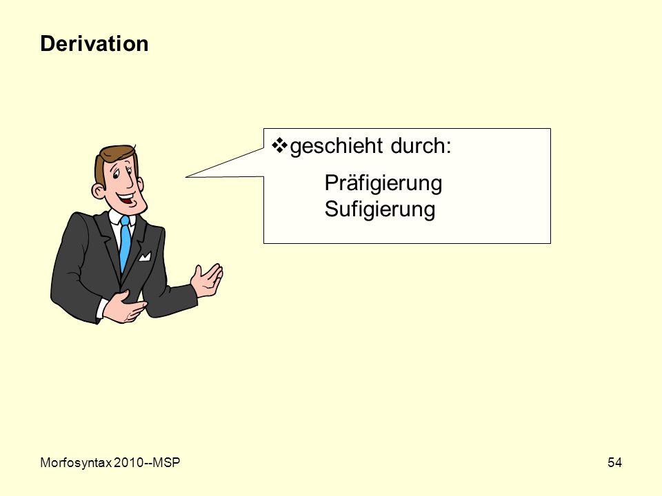 Morfosyntax 2010--MSP54 Derivation geschieht durch: Präfigierung Sufigierung