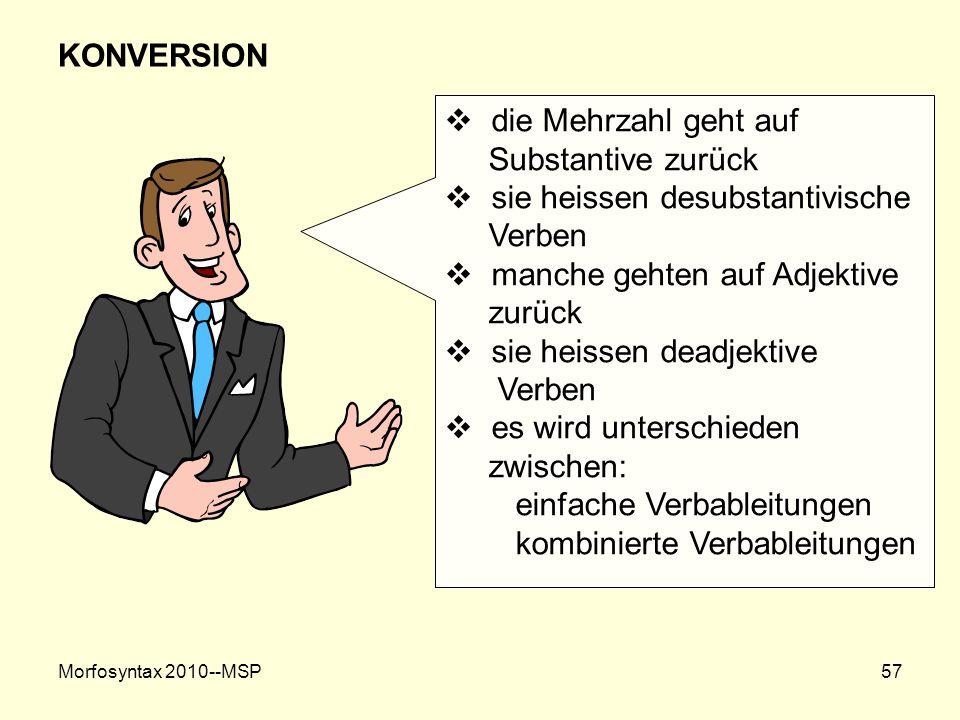 Morfosyntax 2010--MSP57 KONVERSION die Mehrzahl geht auf Substantive zurück sie heissen desubstantivische Verben manche gehten auf Adjektive zurück si
