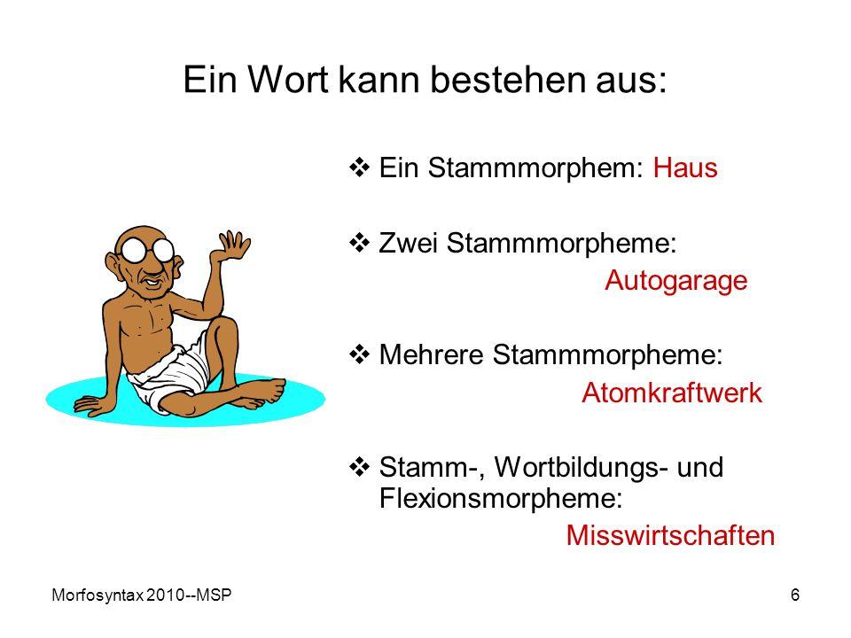 Morfosyntax 2010--MSP7 Wortfamilie (Wortsippe) Menge von Wörten innerhalb einer Sprache, deren gleiche oder ähnliche Stammmorphe auf dieselbe etymologische Wurzel zurückgehen Zum Beispiel: gehen: Geher, Gehsteig, Vorgänger, Fußgänger, Gang, Abgang