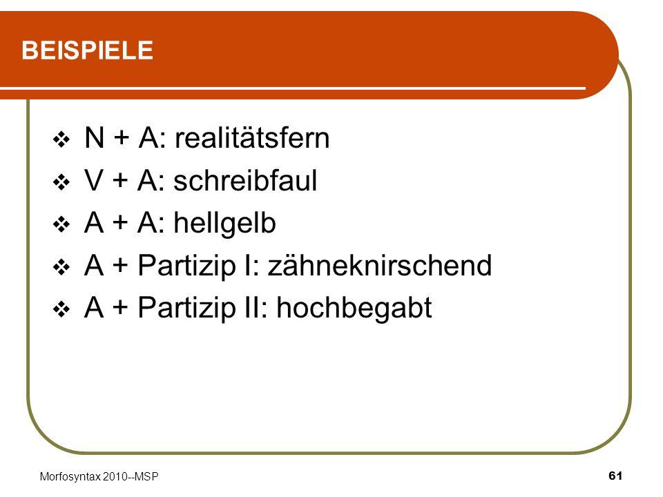 Morfosyntax 2010--MSP61 BEISPIELE N + A: realitätsfern V + A: schreibfaul A + A: hellgelb A + Partizip I: zähneknirschend A + Partizip II: hochbegabt