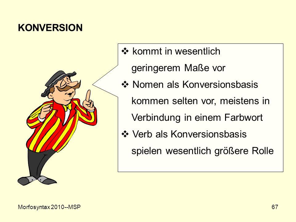 Morfosyntax 2010--MSP67 KONVERSION kommt in wesentlich geringerem Maße vor Nomen als Konversionsbasis kommen selten vor, meistens in Verbindung in ein