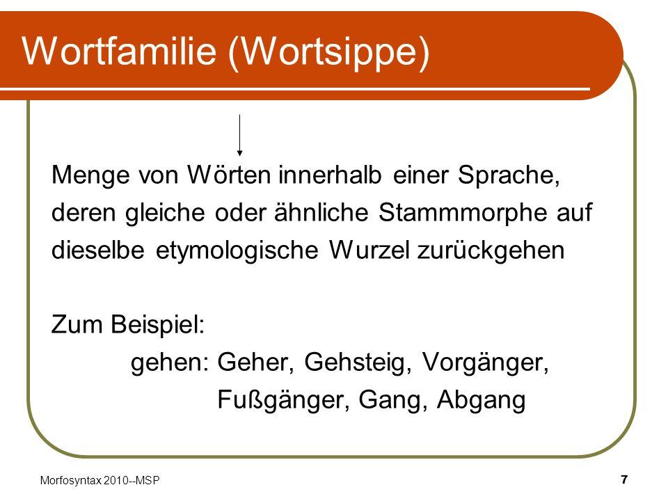 Morfosyntax 2010--MSP8 Wortfeld (Bedeutungsfeld/lexikalisches Feld) Menge von sinnverwandten Wörter, deren Bedeutungen sich gegenseitig begrenzen Beispiel: gehen: laufen, marschieren, spazieren Sitzmöbel: Bank, Couch, Hocker