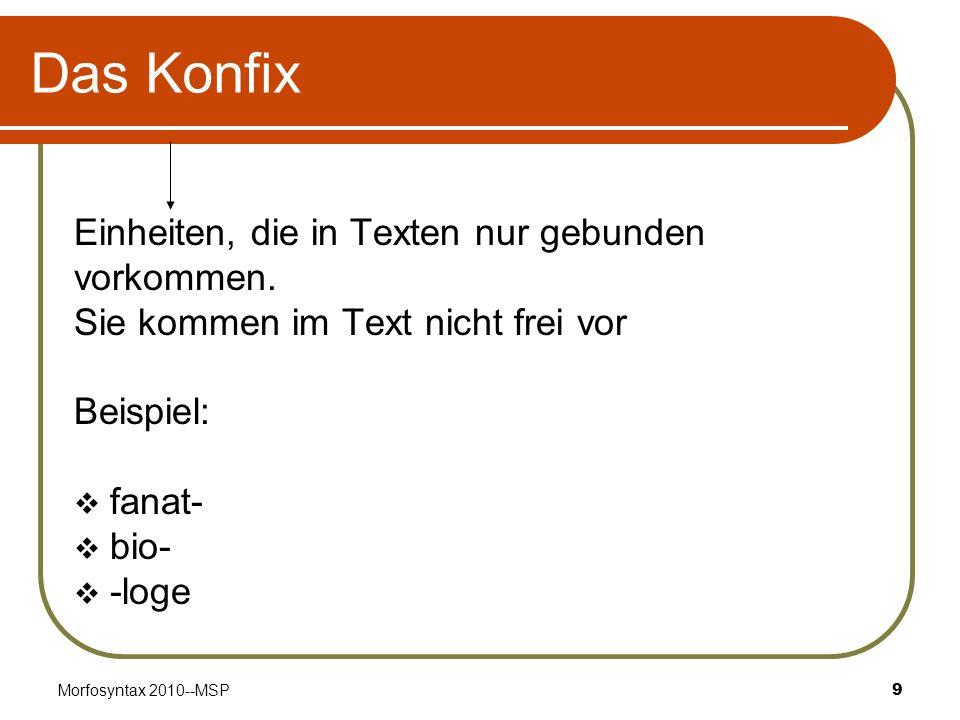 Morfosyntax 2010--MSP9 Das Konfix Einheiten, die in Texten nur gebunden vorkommen. Sie kommen im Text nicht frei vor Beispiel: fanat- bio- -loge