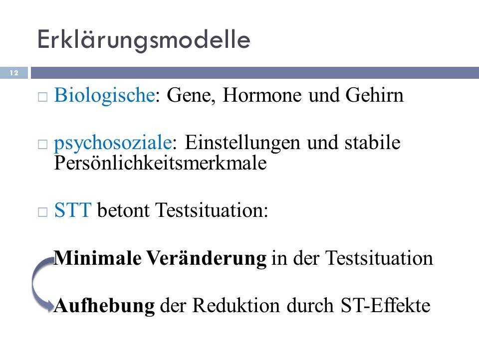 Erklärungsmodelle Biologische: Gene, Hormone und Gehirn psychosoziale: Einstellungen und stabile Persönlichkeitsmerkmale STT betont Testsituation: Min
