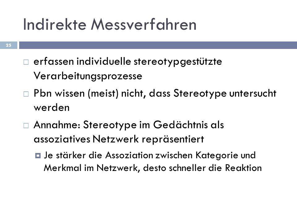 Indirekte Messverfahren erfassen individuelle stereotypgestützte Verarbeitungsprozesse Pbn wissen (meist) nicht, dass Stereotype untersucht werden Ann