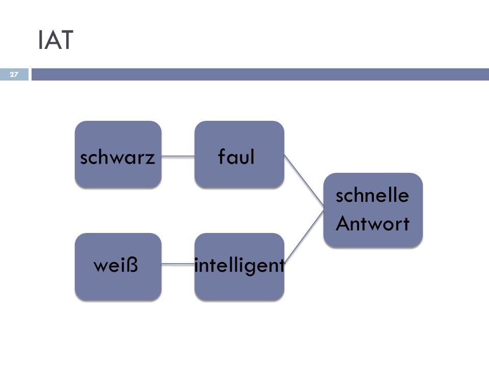 IAT 27 schwarz weiß faul intelligent schnelle Antwort