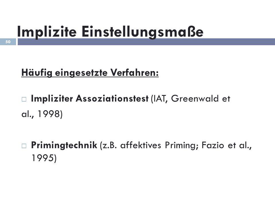 Implizite Einstellungsmaße Häufig eingesetzte Verfahren: Impliziter Assoziationstest (IAT, Greenwald et al., 1998) Primingtechnik (z.B. affektives Pri