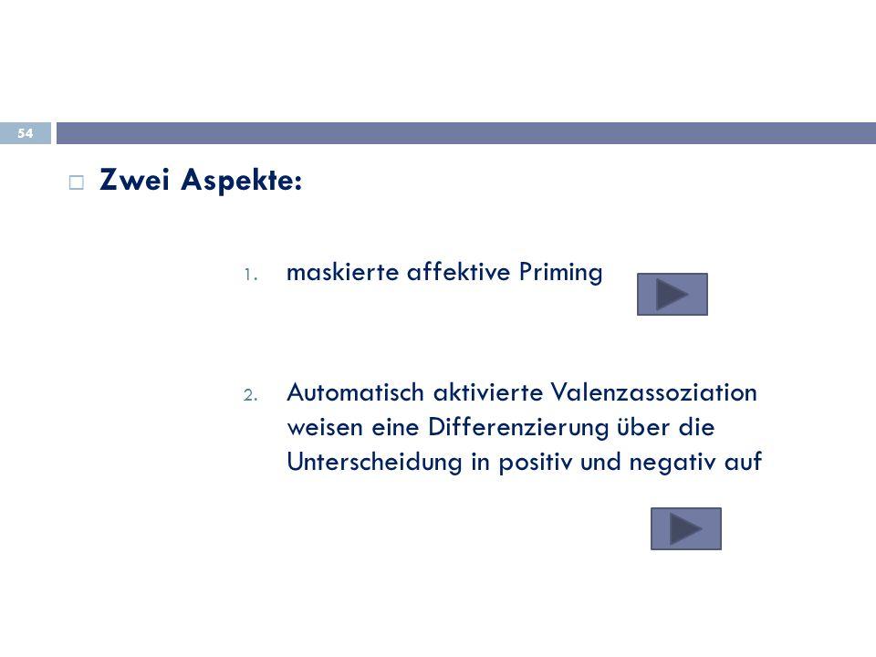 Zwei Aspekte: 1. maskierte affektive Priming 2. Automatisch aktivierte Valenzassoziation weisen eine Differenzierung über die Unterscheidung in positi