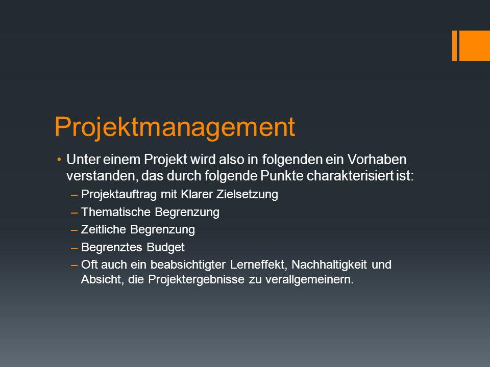 Projektmanagement Unter einem Projekt wird also in folgenden ein Vorhaben verstanden, das durch folgende Punkte charakterisiert ist: –Projektauftrag m