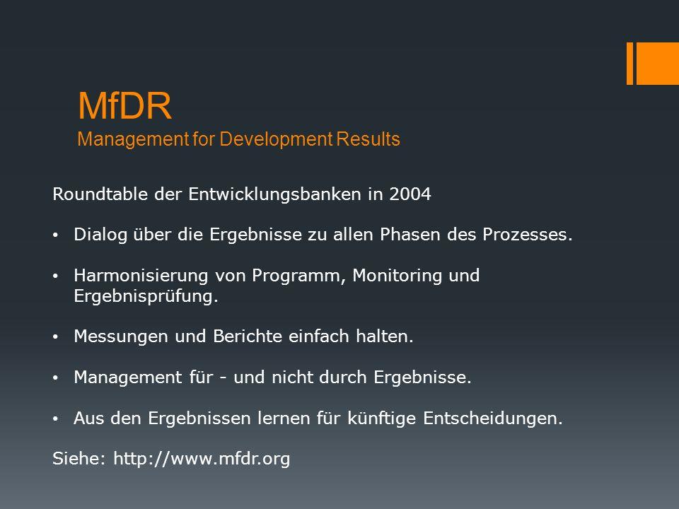 MfDR Management for Development Results Roundtable der Entwicklungsbanken in 2004 Dialog über die Ergebnisse zu allen Phasen des Prozesses. Harmonisie
