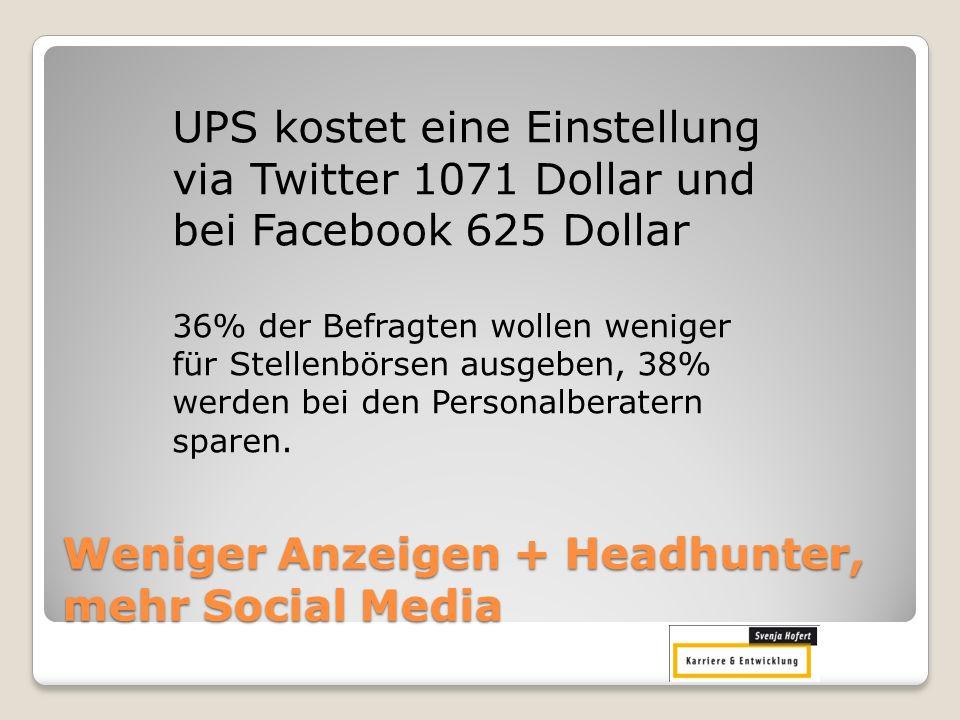 Weniger Anzeigen + Headhunter, mehr Social Media UPS kostet eine Einstellung via Twitter 1071 Dollar und bei Facebook 625 Dollar 36% der Befragten wol