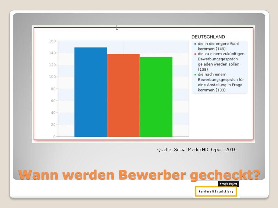 In welcher Position wird gecheckt? Quelle: Social Media HR Report 2010