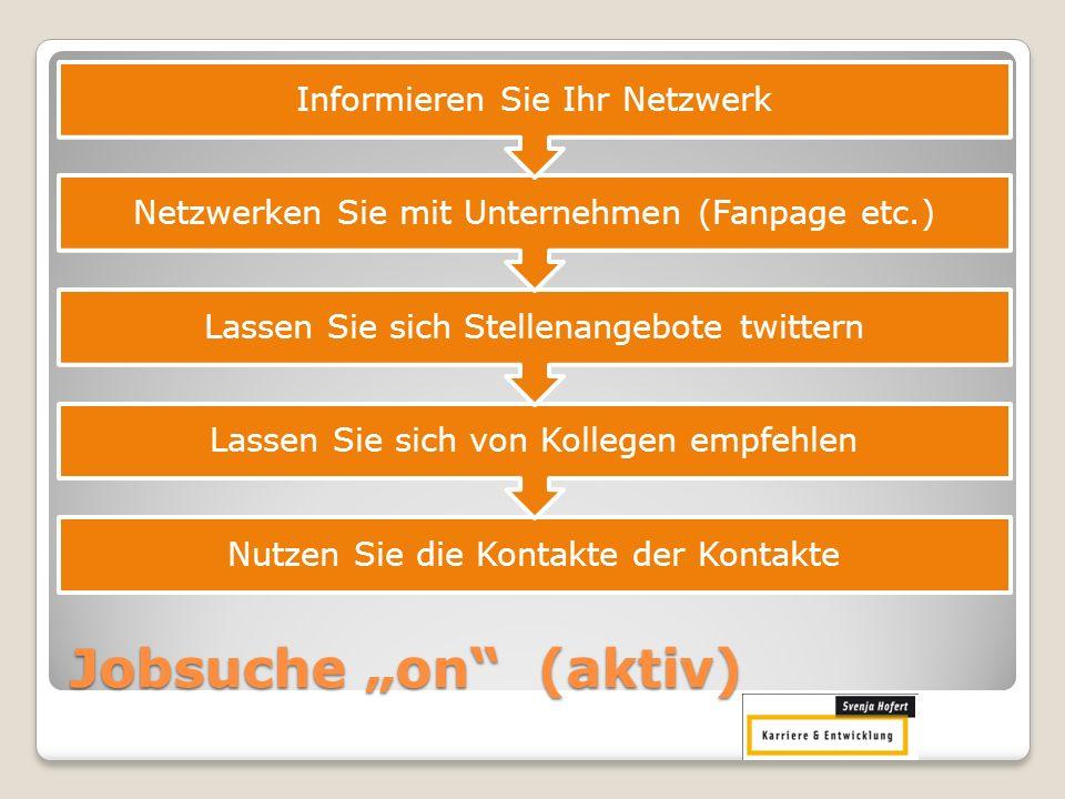 Jobsuche on (aktiv) Nutzen Sie die Kontakte der Kontakte Lassen Sie sich von Kollegen empfehlen Lassen Sie sich Stellenangebote twittern Netzwerken Si
